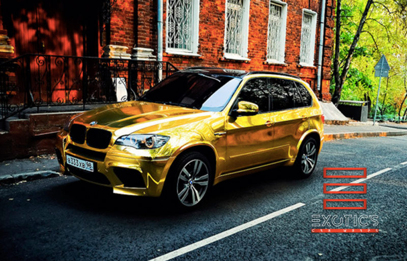 glossy gold chrome car wrap