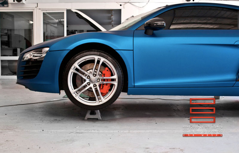 audi r8 wrapped in blue metallic with 3m brand new